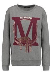 Maje Gareth Printed Cotton Sweatshirt Gray