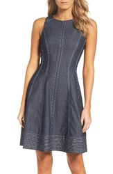 Maggy London Women's Denim Fit And Flare Dress
