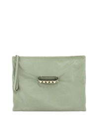 Valentino Oversized Leather Clutch Bag Light Green
