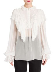 Dolce And Gabbana Ruffle Detail Chiffon Blouse White