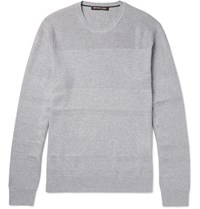 Michael Kors Honeycomb Knit Panelled Cotton Blend Sweater Gray
