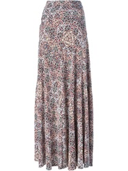 Tory Burch Floral Print Maxi Skirt Pink And Purple