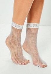 Missguided White Lace Top Fine Fishnet Socks