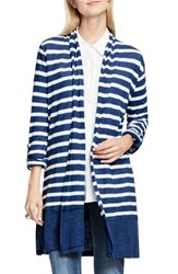 Vince Camuto Women's Two By Long Stripe Cardigan Indigo Heather