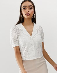 Fashion Union Short Sleeved Blouse In Broderie White