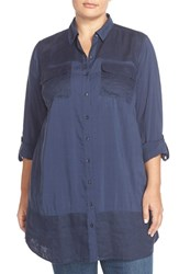 Plus Size Women's Caslon Mixed Media Roll Sleeve Tunic