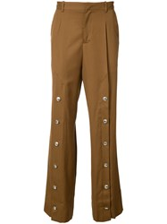 Y Project Stud Detail Trousers Men Cotton Wool M Brown