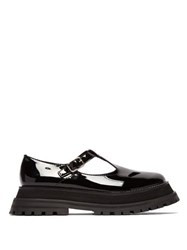 Burberry Aldwych Flatform Patent Leather Dolly Loafers Black