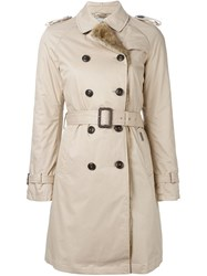 Woolrich Rabbit Fur Trim Padded Trench Coat Nude And Neutrals