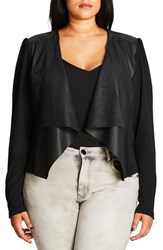 City Chic Plus Size Women's Faux Leather And Knit Drape Front Cardigan