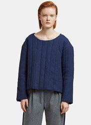 Schmidttakahashi Oversized Quilted Sweater Navy
