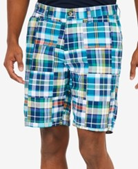 Nautica Men's Fashion Madras Plaid 8.5 Shorts Noon Blue