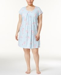 Miss Elaine Plus Size Pintucked Floral Print Knit Nightgown Blue Vine