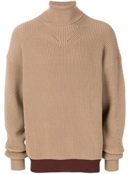 Oamc Ribbed Roll Neck Jumper Cotton Polyamide Viscose Nude Neutrals