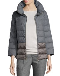 Peserico Flannel Short Puffer Coat Gray Bronze Flann