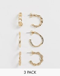 Monki Assorted Mini Hoops In Gold