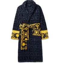 Versace Satin Trimmed Logo Jacquard Cotton Terry Robe Blue