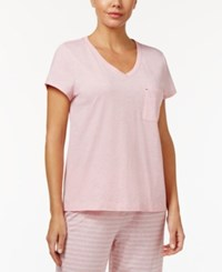 Nautica V Neck Pajama T Shirt Heather Pink