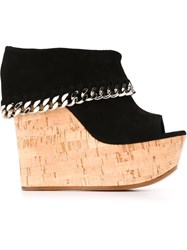 Casadei Foldover Top Wedge Sandals Black