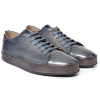 Santoni Burnished Leather Sneakers Blue
