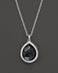 Ippolita Stella Large Teardrop Pendant Necklace In Hematite Doublet With Diamonds In Sterling Silver 16 Silver Black
