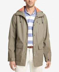 Izod Men's Hooded Wind Slicker Olive