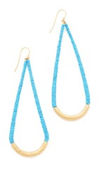 Aurelie Bidermann Teardrop Earrings Yellow Gold Turquoise
