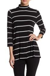 Vince Camuto 3 4 Sleeve Stripe Turtleneck Shirt Gray