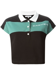 Carven Cropped Stripe Polo Shirt Green