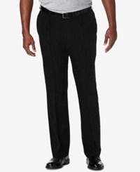 Haggar Men's Big And Tall Cool 18 Pro Classic Fit Stretch Pleated Dress Pants Black
