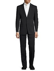Versace Tonal Pinstriped Suit Black