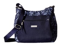 Baggallini New Classic Uptown Bagg With Rfid Phone Wristlet Indigo Floral Bags White