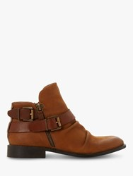 Bertie Ported Nubuck Buckle Detail Ankle Boots Tan