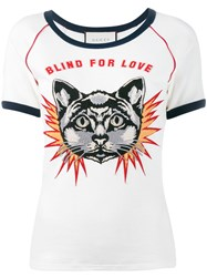 Gucci Blind For Love Cat Embroidered T Shirt White