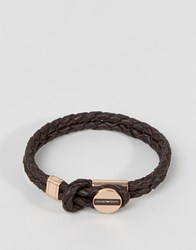 Emporio Armani Plaited Bracelet In Brown And Bronze Brown Bronze