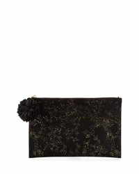 Neiman Marcus Gold Flecked Flat Zip Pouch Black
