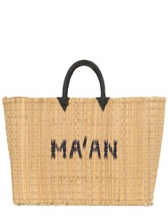 Ma'an Large Logo Woven Straw Tote Bag