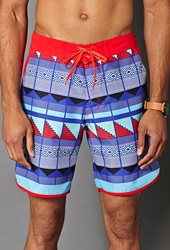 Forever 21 Geo Print Swim Trunks Tomato Purple