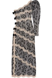 Alessandra Rich One Shoulder Lace Gown Gray