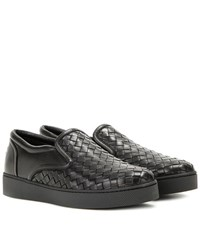 Bottega Veneta Intrecciato Leather Slip On Sneakers Black