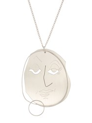 J.W.Anderson Moon Face Pendant Necklace Silver