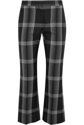 Alexander Mcqueen Cropped Checked Silk And Wool Blend Flared Pants Black