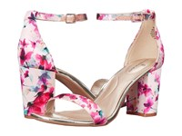 Bandolino Armory Medium Pink Vibrant Floral Shiny Satin Women's Sandals Multi