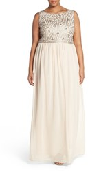 Plus Size Women's Adrianna Papell Beaded Bodice A Line Gown