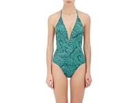 Thorsun Women's Natalie One Piece Halter Swimsuit Green Black White Turquoise