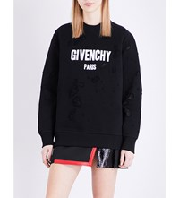 Givenchy Destroyed Cotton Jersey Sweatshirt Blk Wht