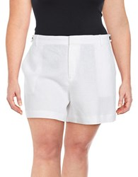 Lord And Taylor Plus Solid Linen Shorts White