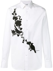 Alexander Mcqueen Contrast Floral Embroidered Shirt White