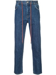 Christian Dada Drawstring Jeans Cotton Blue