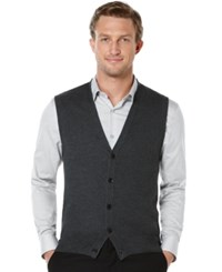 Perry Ellis Solid Textured Sweater Vest Charcoal Heather